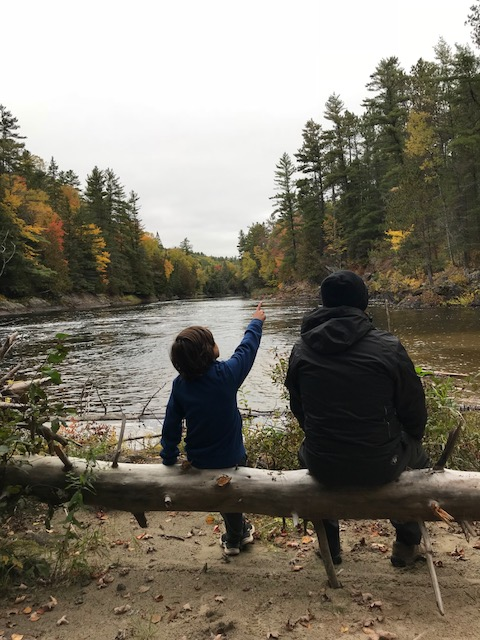 A boy and man sitting on a fallen tree looking out over a river