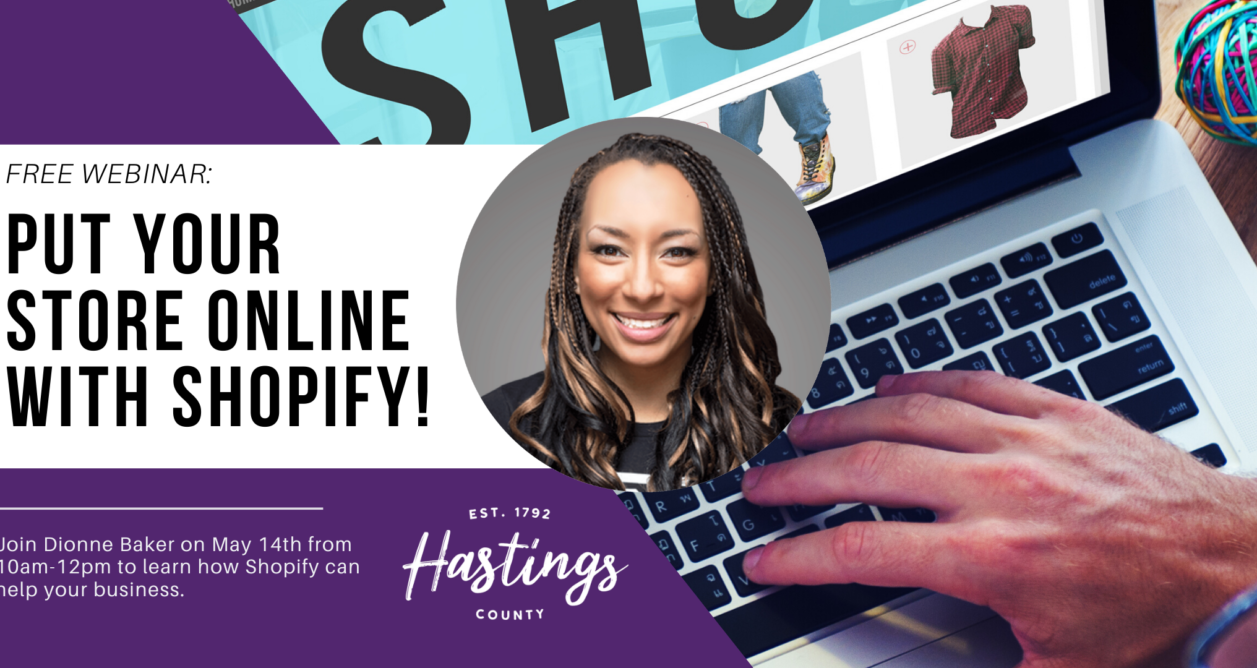 Promotional graphic for workshop; photo of a woman; photo of a laptop with a hand typing on the keyboard