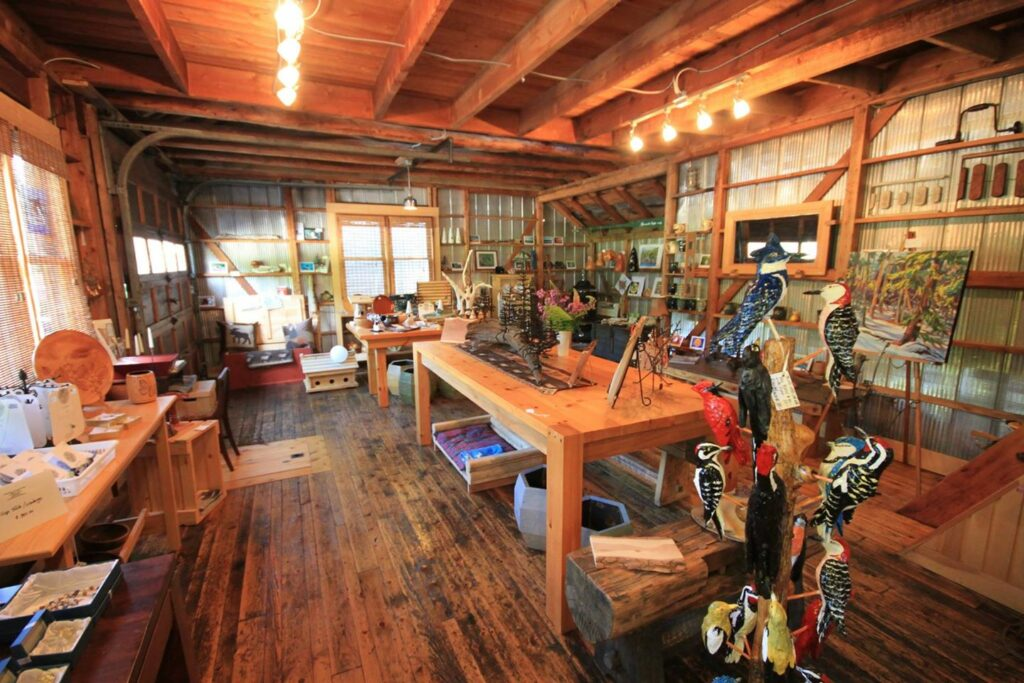 A photo of the inside of a woodworking retail store.