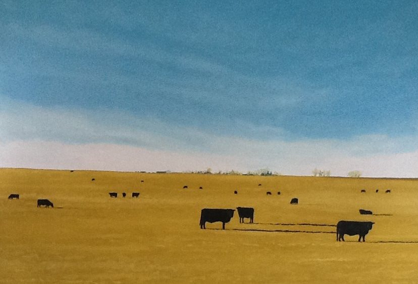 A painting displaying cows in a field